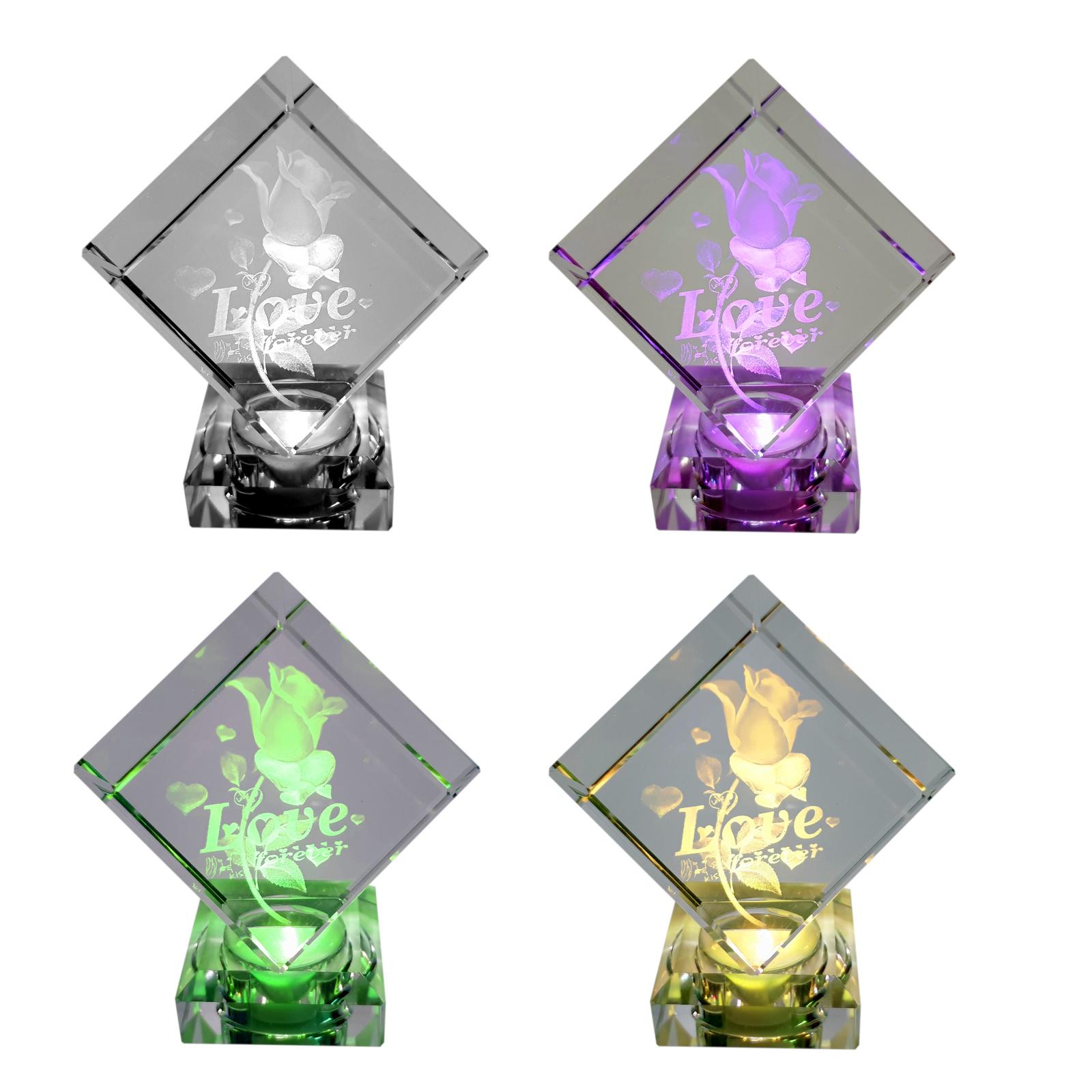 Kristallfigur Liebe Love Partner Rose Personalisierung Glaskristall 3D Geschenk