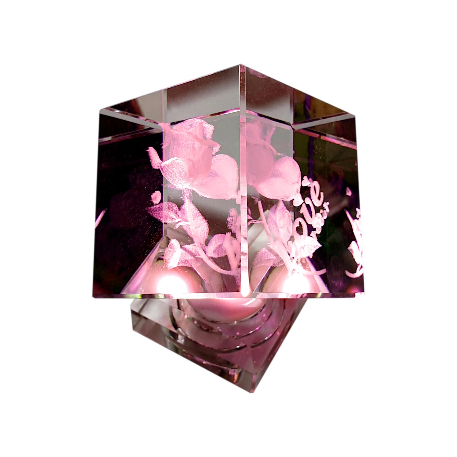 Kristallfigur Liebe Love Rose Glaskristall 3D personalisiert Partner Geschenk